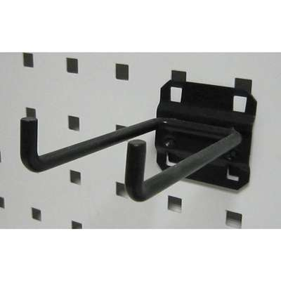 Steel Double Rod Pegboard Hook, Screw In Mounting Type, Black