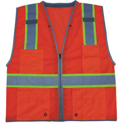 Orange/Red with Silver Stripe Traffic Vest, ANSI 2, Zipper Closure, M