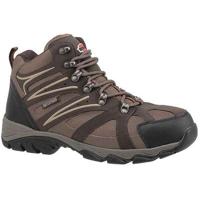 "6""H Men's Hiking Boots, Steel Toe Type, Leather and Nylon Mesh Upper Material, Brown/Tan, Size 11M"