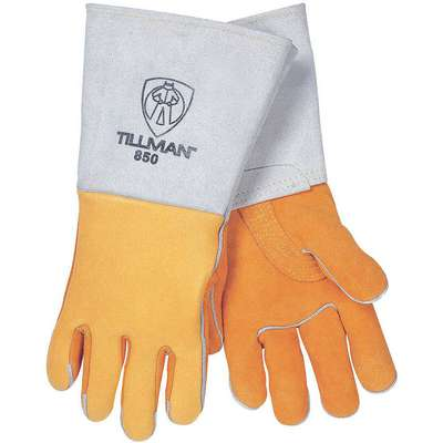 "Welding Gloves, Safety Cuff, M, 11"" Glove Length, Elkskin Leather Palm Material"
