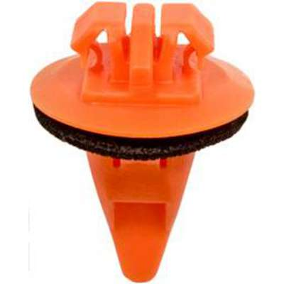 Moulding Clip, Nylon, 10 mm Dia., 17 mm L, 17 mm Head Dia., Orange, 10 PK