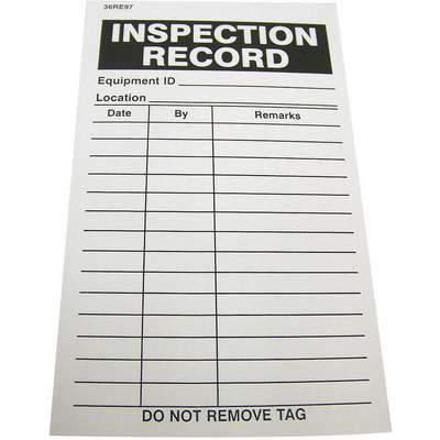 "Inspection Record Label, Inspection Record, 5"" Height, 3"" Width, Paper Permanent Adhesive"