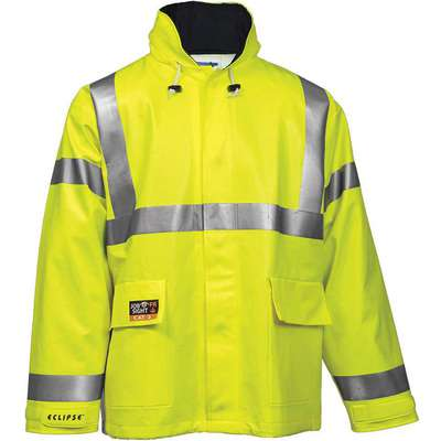 Arc Flash Rain Jacket, PPE Category: 2, High Visibility: Yes, Nomex® PVC, 5XL, Yellow/Green