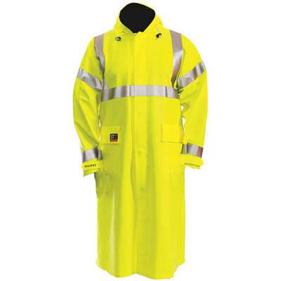 Arc Flash Rain Coat, PPE Category: 2, High Visibility: Yes, Nomex® PVC, 4XL, Yellow/Green