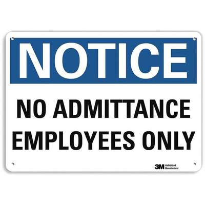 Recycled Aluminum Employees Only Sign with Notice Header; 10 in. H x 14 in. W