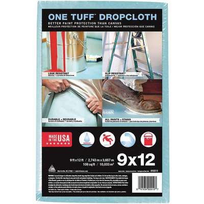 Leakproof and Slip Resistant Drop Cloth, Pulp, Polyester, 10 mil Thickness, 12 ft. Width