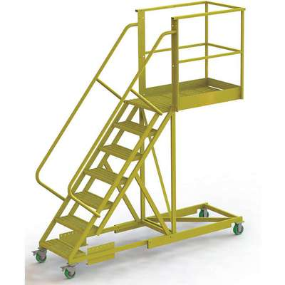 "Supported 7-Step Cantilever Rolling Ladder, Perforated Step Tread, 112"" Overall Height"