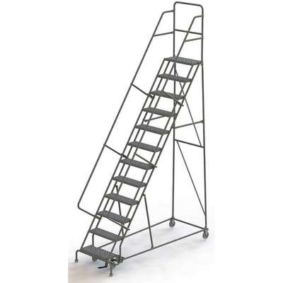 "12-Step Rolling Ladder, Serrated Step Tread, 156"" Overall Height, 450 lb. Load Capacity"