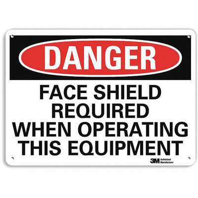 Recycled Aluminum Face Protection Sign with Danger Header, 10 in. H x 14 in. W
