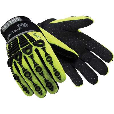 Uncoated Cut Resistant Gloves, ANSI/ISEA Cut Level A8, SuperFabric Lining, Black, Hi-Vis Green, M,