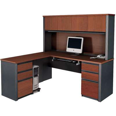 "71"" x 62-3/4"" x 66-3/4"" Prestige + Series L-Shape Workstation, Bordeaux/Graphite"