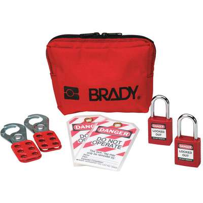 Portable Lockout Kit, Filled, General Lockout, Pouch, Red