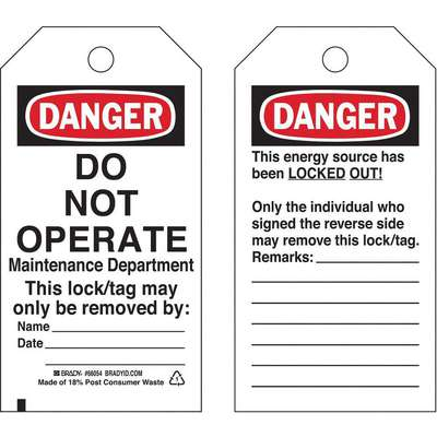 Danger Tag, Cardstock, Do Not Operate Maintenance Department This Lock/Tag May Only Be Removed By