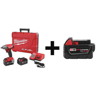 "Milwaukee 2755-22, 48-11-1850 M18 FUEL 1/2"" Cordless Impact Wrench Kit, 18.0V, 220 ft.-lb. Max. Torque"