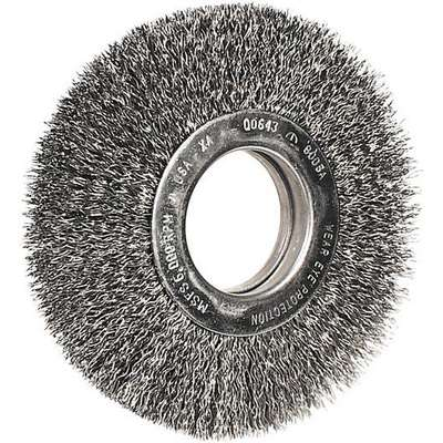 8 in. Crimped Wire Wheel Brush, Carbon Steel, 0.014 in. Wire Dia., 1-1/2 in. Trim Length