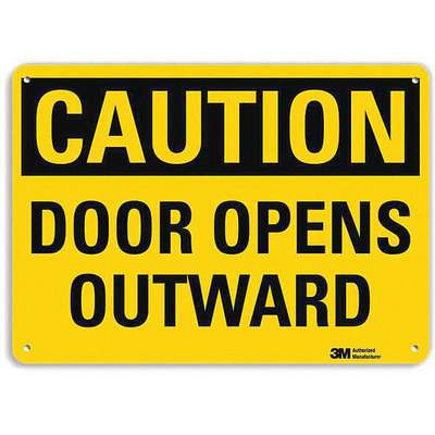 "Door Instruction, Caution, Recycled Aluminum, 7"" x 10"", With Mounting Holes, Engineer"