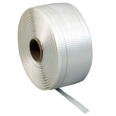 "Non Woven, Plastic Strapping, Hand Strapping, 3/8"" Strapping Width, 0.0250"" Thickness, 4 Rolls"