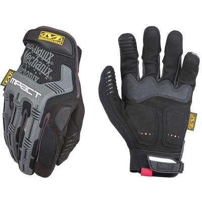 Impact Resistant Gloves, Synthetic Leather, D30®, Armortex® Palm Material, Black/Gray, 1 PR
