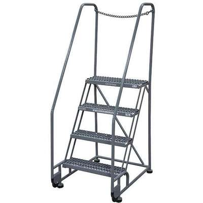 "4-Step Tilt and Roll Ladder, Expanded Metal Step Tread, 70"" Overall Height, 450 lb. Load Capacity"