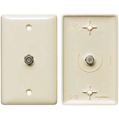 Light Almond Video Wall Plate and Jack, Plastic, Number of Gangs: 1, Cable Type: F Type Coupler