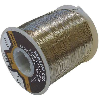 "Lockwire, Stainless Steel, 0.032"" Diameter, 91 ft. Length, 75,000 psi Tensile Strength, Bare Wire"