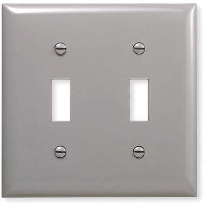 Toggle Switch Wall Plate, Silver, Number of Gangs: 2, Weather Resistant: No