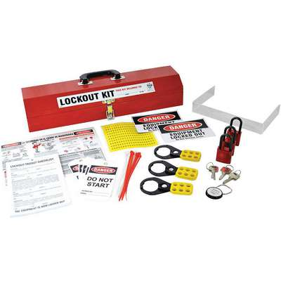 Portable Lockout Kit, Filled, Electrical/Valve Lockout, Tool Box, Red
