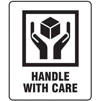"Shipping Labels, Handle with Care, Paper, 3"" Width, 4"" Height, PK 100"
