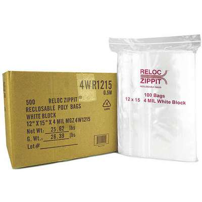 "15""L x 12""W Standard Reclosable Poly Bag with Zip Seal Closure, Clear; 4 mil Thickness"