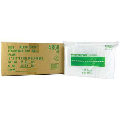 "8""L x 6""W Standard Reclosable Poly Bag with Zip Seal Closure, Clear; 4 mil Thickness"