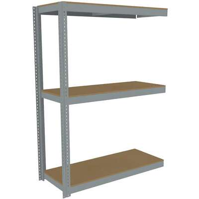 "Add-On Boltless Shelving with Particle Board Decking, 3 Shelves, 61""W x 24-5/8""D x 84""H"