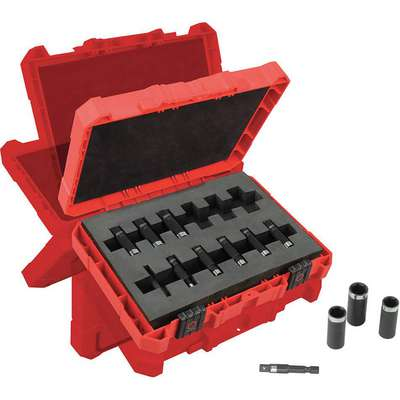 "1/4"" Metric Steel/Black Oxide Impact Socket Set, Number of Pieces: 12"