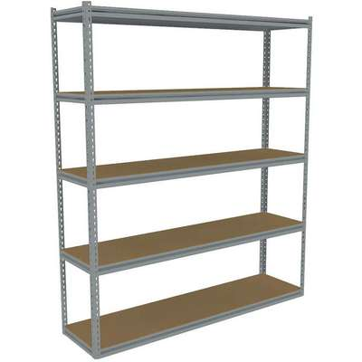 "Starter Boltless Shelving with Particle Board Decking, 5 Shelves, 60-5/8""W x 12-5/8""D x 84""H"
