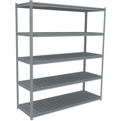 "Starter Boltless Shelving with Ribbed Steel Decking, 5 Shelves, 60-5/8""W x 24-5/8""D x 84""H"