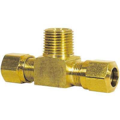 "Air Brake Male Branch Tee, Brass, 1/4"" x 1/4"" x 1/8"""