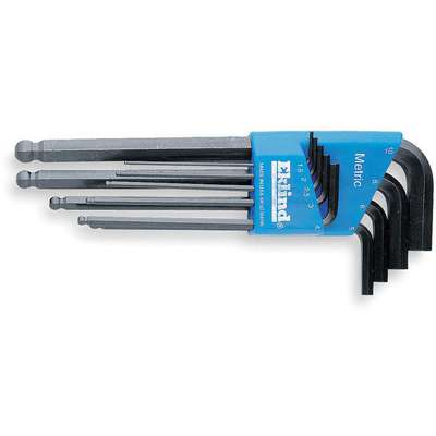 Long L-Shaped Metric Black Oxide Ball End Hex Key Set, Number of Pieces: 9