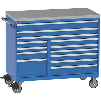 "Mobile Counter Height Modular Drawer Cabinet, 13 Drawers, 60""W x 28""D x 48""H Bright Blue"