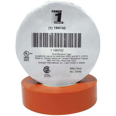 "Vinyl Electrical Tape, Rubber Tape Adhesive, 7.00 mil Thick, 3/4"" X 66 ft., Orange, 1 EA"