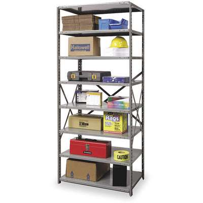 "Starter Open Metal Shelving, 48""W x 18""D x 87""H, 3600 lb. Load Cap., 8 Shelves, Dark Gray"