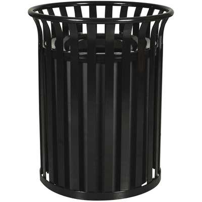 "35 gal. Round Funnel Top Decorative Trash Can, 33""H, Black"