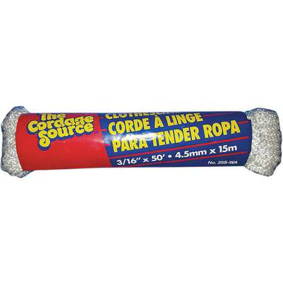 "3/16"" dia. Polyester All Purpose Rigging Rope, White, 50 ft."