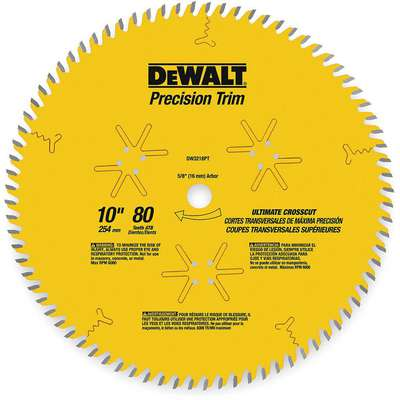 "Dewalt DW3218PT 10"" Carbide Finishing Circular Saw Blade, Number of Teeth: 80"