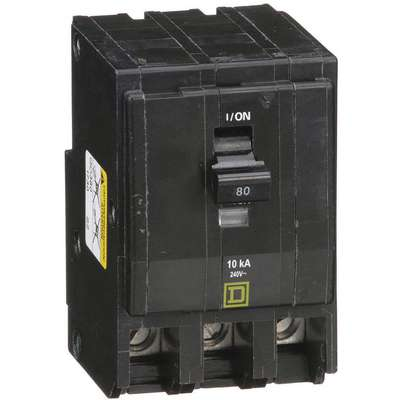 Plug In Circuit Breaker, QO, Number of Poles 3, 80 Amps, 240VAC, Standard
