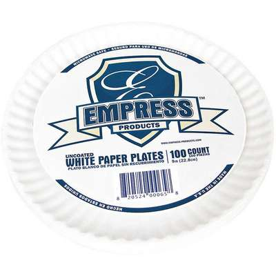 "9"" Paper Disposable Plate, White, 1000 PK"