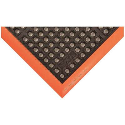 "Drainage Mat, 4 ft. L, 3 ft. W, 7/8"" Thick, Rectangle, Black with Orange Border"