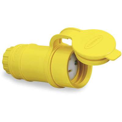 15 Amp General Grade Standard Watertight Straight Blade Connector, 5-15R NEMA Configuration, Yellow