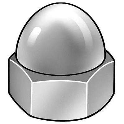 "5/16""-18 Cap Nut, Plain Finish, Brass Not Graded, PK25"