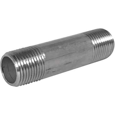 "1/4"" x 12"" 304 Stainless Steel Nipple, Pipe Schedule 40, Threaded on Both Ends"