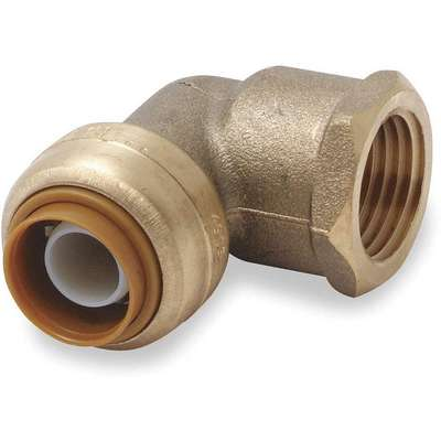 "DZR Brass Female Elbow, 90°, 1/2"" Tube Size"