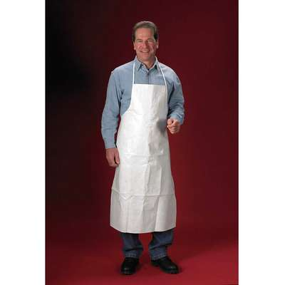 "Chemical Resistant Bib Apron, White, 44"" Length, 28"" Width, ChemMax 2 Material, PK 10"
